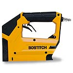 "Bostitch Heavy-duty air tacker. T50 3/8"" flat-crown staples and 18 ga. brads"